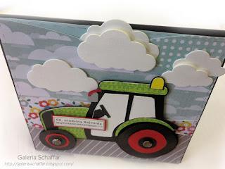 traktor z papieru DIY chmjurki wykrojnik nietypowy prezent obrazek kartka na okręglelegancka kolorowa karteczka urodzinowa traktorek handmade urodziny