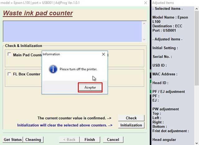 formatear el contador a 0 de la impresora epson l100
