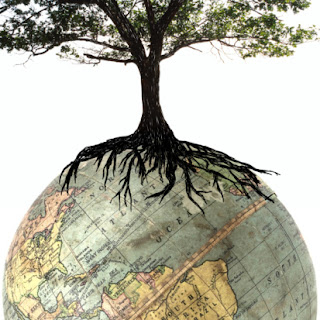Tree with roots on globe