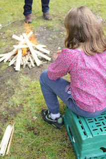 We did the fire stuff first. The children seemed very subdued around the fire.