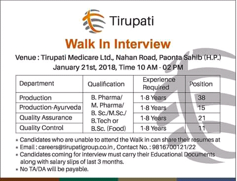PHARMA KING: Walk in for tirupati medicare Paonta sahib