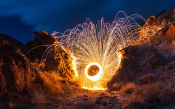 Wallpaper: Playing With Fire: Steel Wool Spinning.