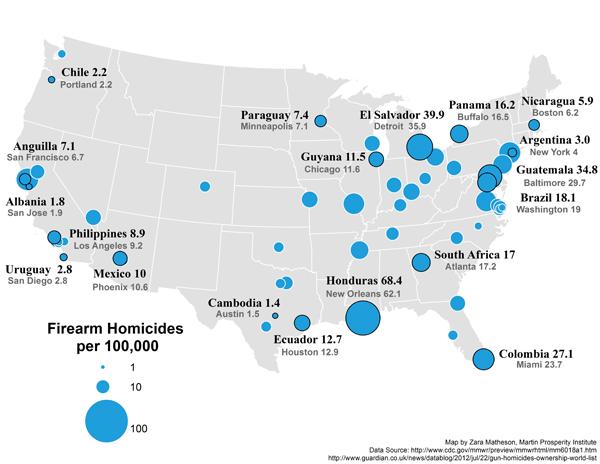 Firearm homicides per 100,000