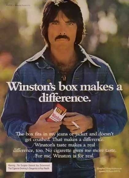 vintage everyday 1970s Pornstache Cigarette Ads