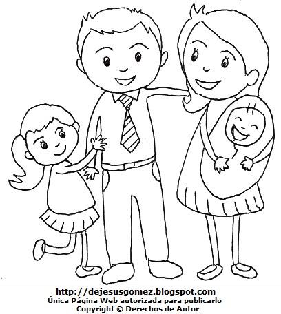 Hijos con sus padres para colorear pintar. Dibujo de hijos de Jesus Gómez