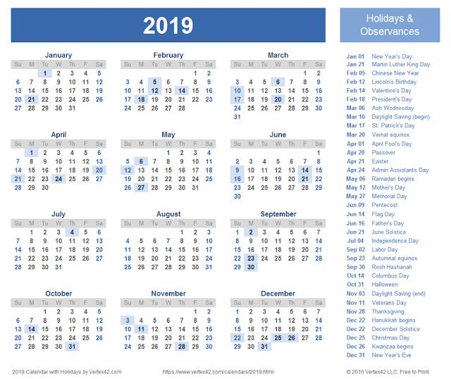 UAE Holidays 2018 Calendar