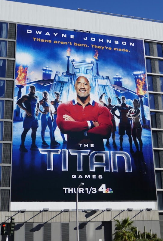 Dwayne Johnson Titan Games series billboard