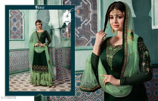 52cc060487 *TOP* : Satin Georgette + Embroidery ( 3.2 Mtr ) *INNER*: Santoon + Solid (  2 Mtr ) *BOTTOM* : Georgette + Embroidery ( 2.5 Mtr )