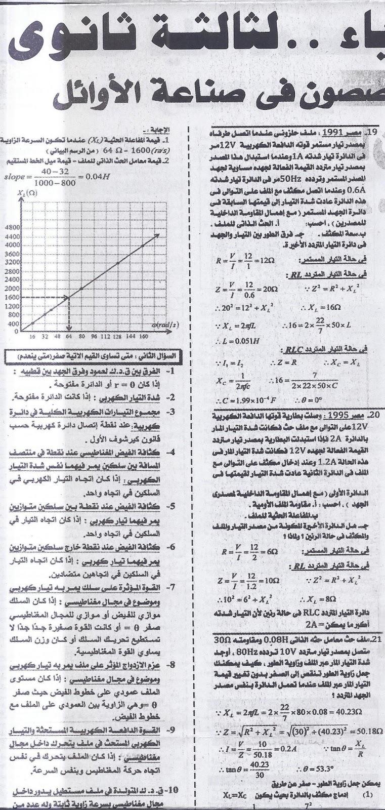 ننشر .. اخر مراجعة لامتحان الفيزياء (عربى ولغات) للثانوية العامة 2016  7