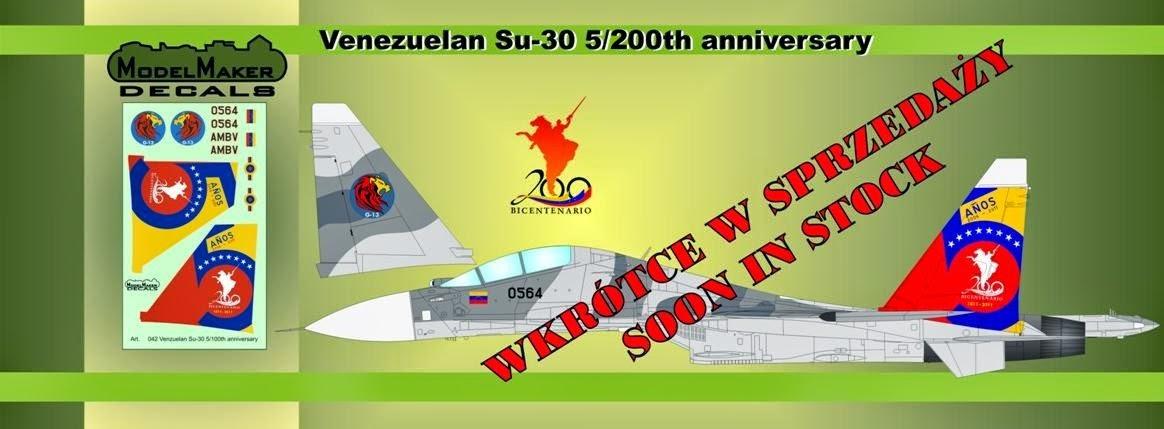 venezuela sukhoi su-30mk2 quinto aniversario bicentenario 5to ceo dir 119 camuflaje model maker decals