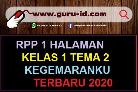 GAMBAR RPP 1 LEMBAR KELAS 1 TEMA 2 TERBARU 2020