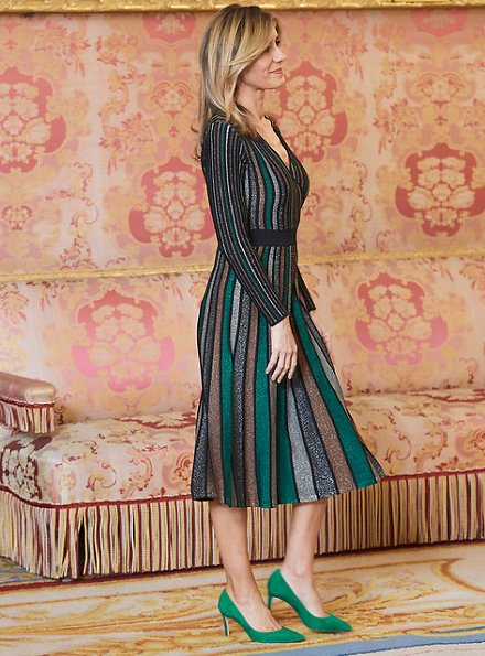 Begona Gomez wore Pedro del Hierro Lurex jersey knit dress