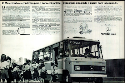 propaganda ônibus Mercedes-Benz - L-608 D, o Mercedinho - 1978;  brazilian advertising cars in the 70s; os anos 70; história da década de 70; Brazil in the 70s; propaganda carros anos 70; Oswaldo Hernandez;