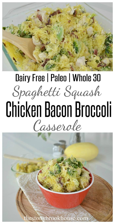 Spaghetti Squash Chicken Bacon Broccoli Casserole