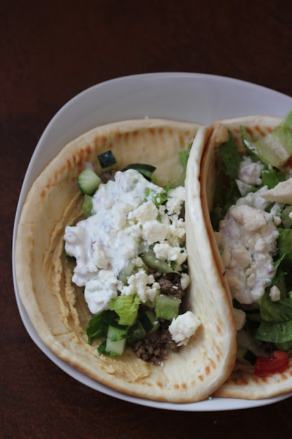 Greek-Style Flatbread Tacos - Recipe, pinterest image greek-style flatbread tacos, finished greek tacos