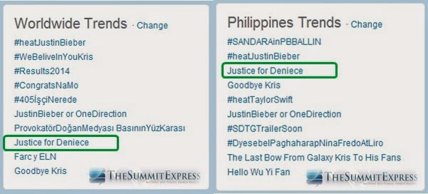 'Justice for Deniece' trends Philippines and worldwide.