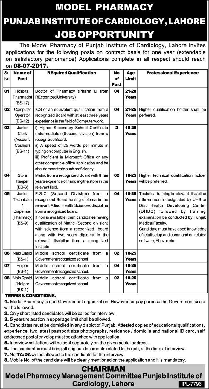 Punjab Institute Of Cardiology Lahore Jobs 2017 Jobs In