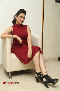 Telugu Tollywood Anchor Manjusha Pos in Red Short Dress  0129.JPG
