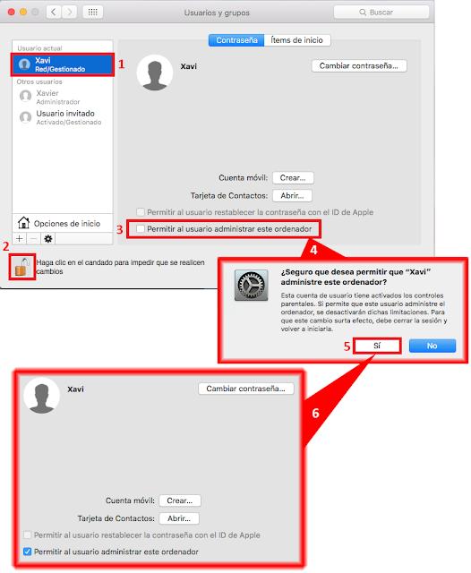 Otorgar privilegios de Administrador sobre nuestro equipo Mac al nuevo usuario de Active Directory.