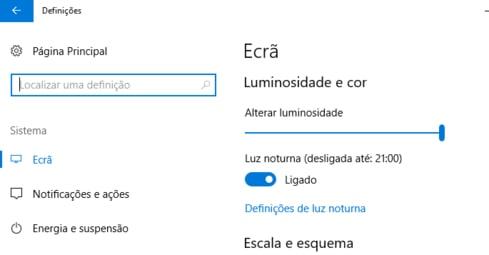 Luz nocturna no windows 10