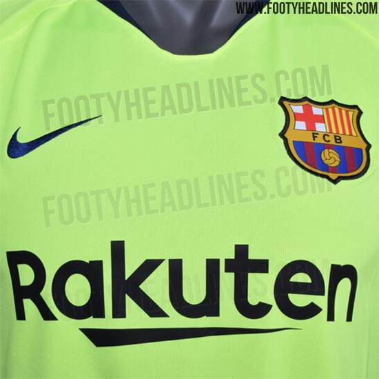96ebb31304c The Nike FC Barcelona 18-19 away kit introduces a bright and eye-catching  design in volt