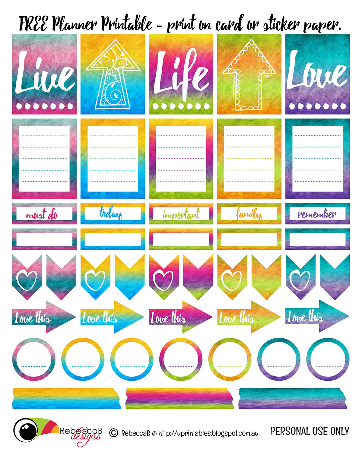 Printable Planner Stickers Student Rebeccab Designs Free Printable Planner Stickers