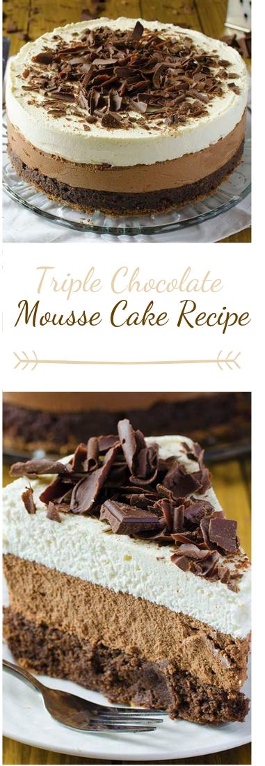Triple Chocolate Mousse Cake Recipe #cake