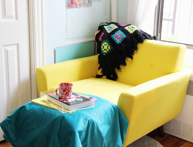Brightly coloured book nook