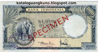 Specimen Seri Hewan tahun 1957 pecahan 1000