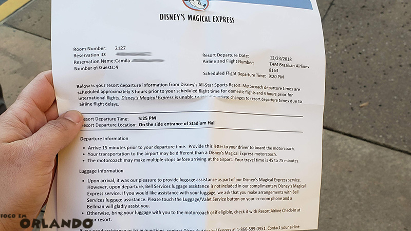 Carta para embarque do Disney's Magical Express.