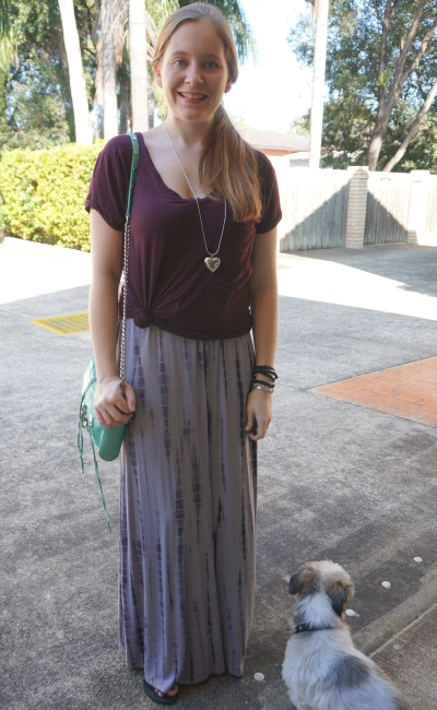 grey tie dye maxi dress with burgundy knotted tee layered over SAHM autumn style | awayfromblue