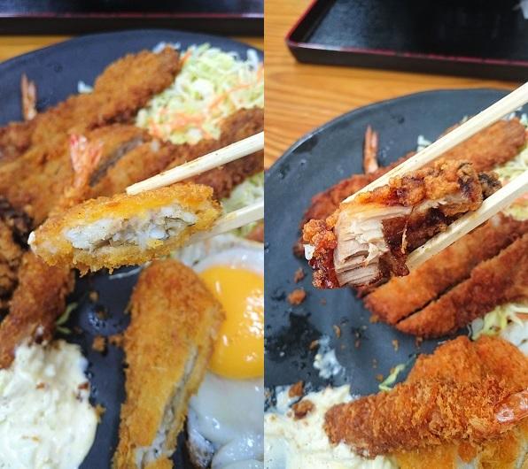 白身魚のフライとチキン唐揚げの写真