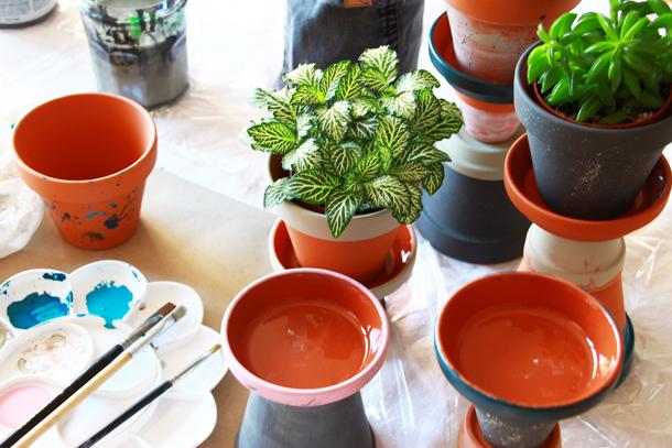 binedoro Blog, DIY, Sukkulenten-Türmchen aus Terracotta, Pflanzenständer, Blumentopf, Ton, Übertopf, Acrylfarbe