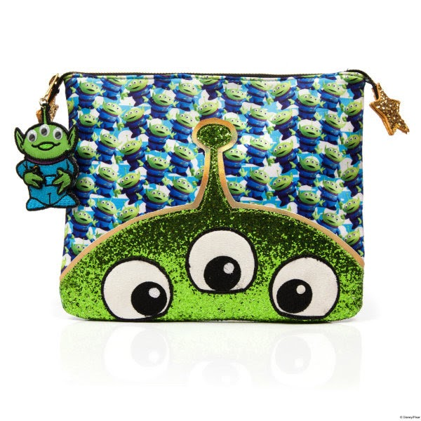 alien printed pouch clutch bag with alien charm on zip and green glitter face