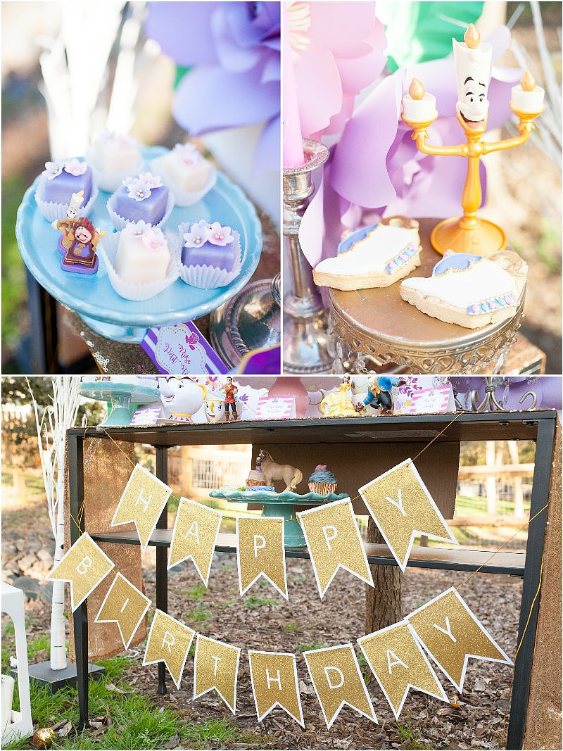 Be Our Guest Beauty & The Beast Inspired Birthday Party - with DIY decorations, printables,desserts table styling, favors and games! via BirdsParty.com @BirdsParty