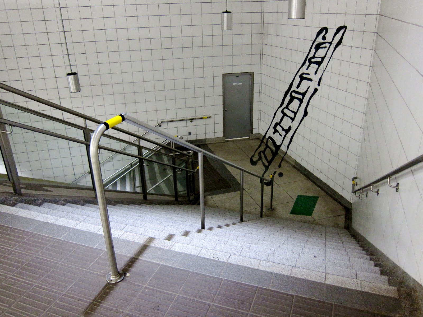 Photo: anamorphic ladder from Panya Clark Espinal's installation at Bayview station