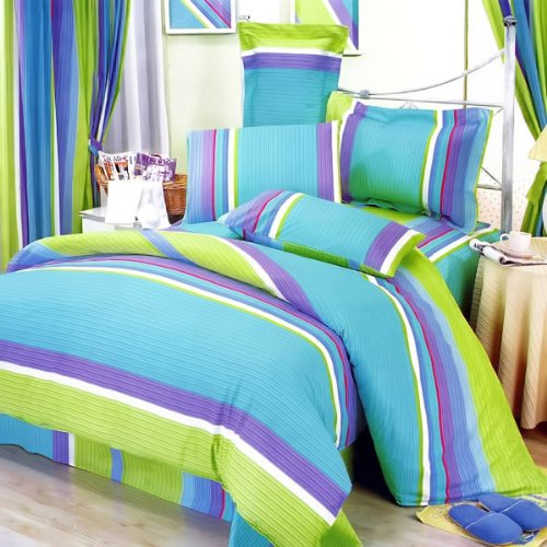 Decorating The Bedroom With Green Blue And Purple: Turquoise Blue And Lime Green Bedding Sets