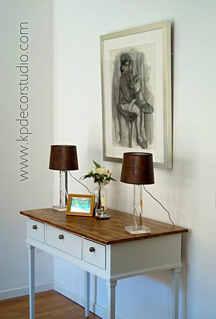 decoracion de comoda vintage restaurada, comprar lamparitas de mesa de noche, lamparas de mesa antiguas