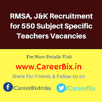 RMSA, J&K Recruitment for 550 Subject Specific Teachers Vacancies