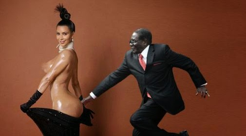 dirty old man Robert Mugabe breaking the internet with Kim Kardashian's naked butt via geniushowto.blogspot.com #MugabeFalls meme
