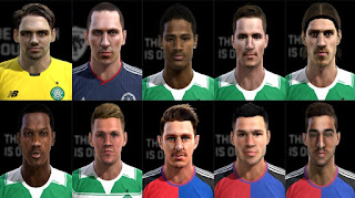 Faces 2016: Bailly, Boyata, Scott Brown, Commons, Janko, Lustig, Sviatchenko, Sporar, Steffen, Zuffi, Pes 2013