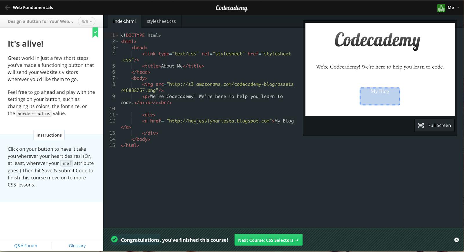 Hey, I'm Jesslyn : Code Academy : Html & Css | Design a
