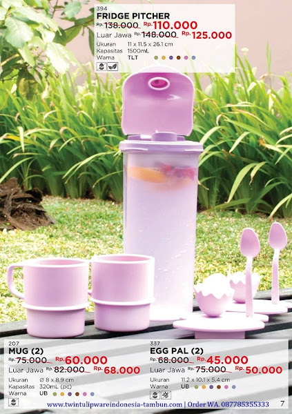 Promo Diskon Tulipware Oktober 2017, Fridge Pitcher, Mug, Egg Pal