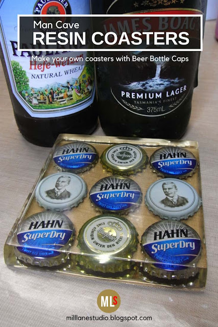 Resin beer bottle cap coaster with two bottles of beer