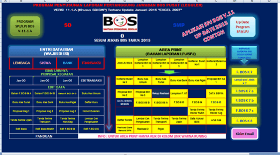 4 Aplikasi Pembuatan SPJ BOS Microsoft Excel SD MI SMP MTS SMA SMK