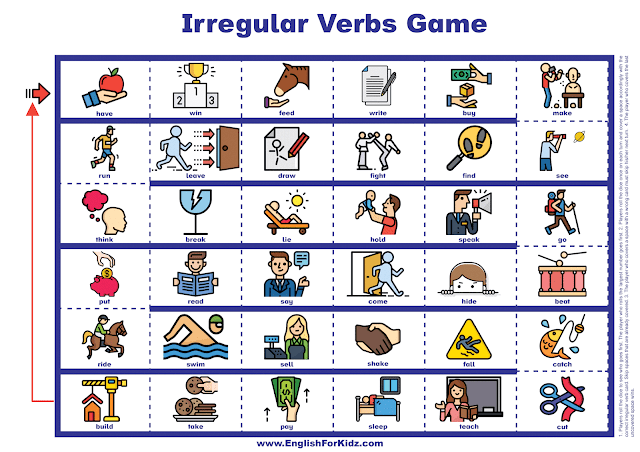 Irregular verbs game - printable resources for EFL and ESL teachers