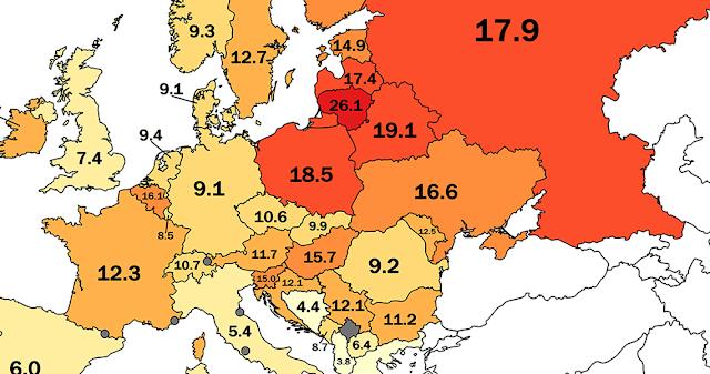 Ποια χώρα είναι τελευταία στις αυτοκτονίες σε όλη την Ευρώπη;