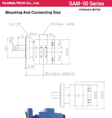 Kích thước mo tor SAM50-50