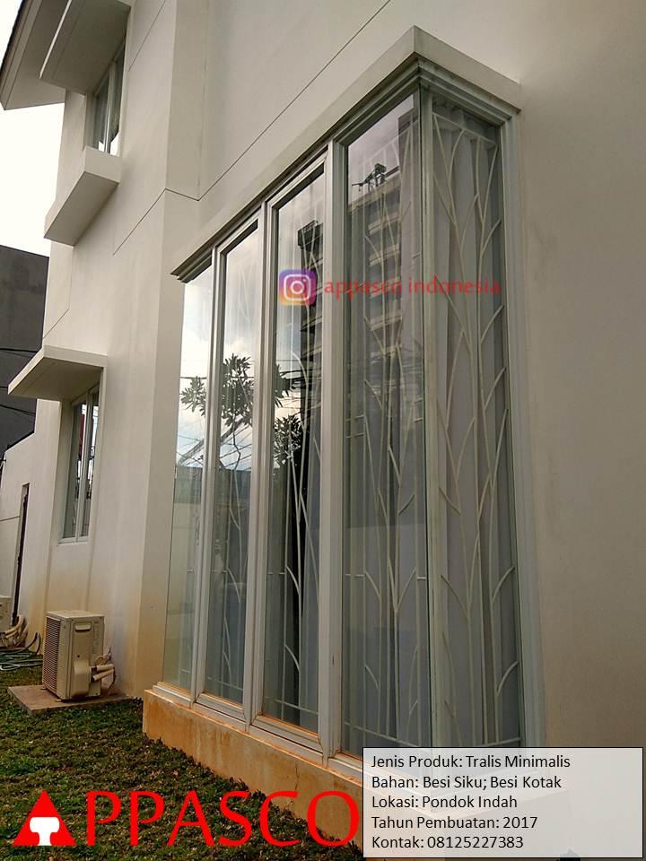 Teralis Minimalis Besi Siku Kotak Motif Daun di Pondok Indah