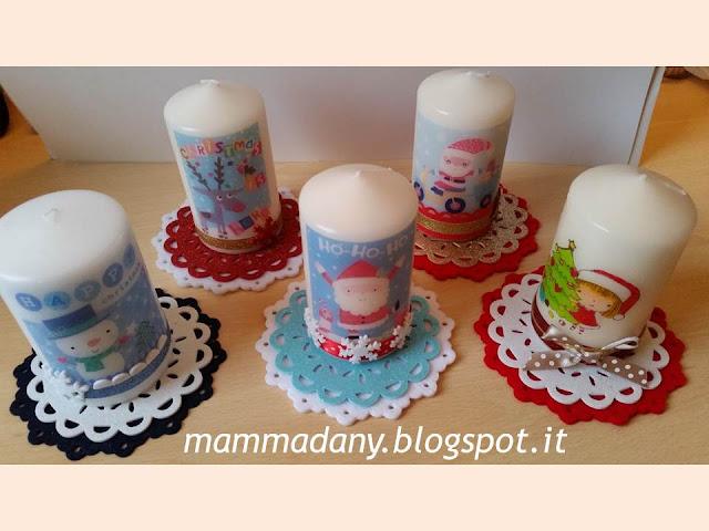 candele di natale stampate e decorate viste dall'alto